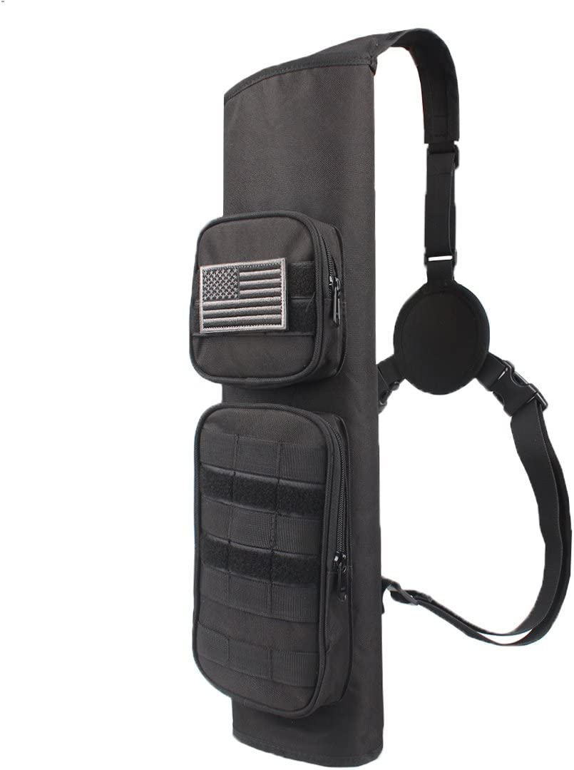 KRATARC Archery Back Arrows Quiver Bag with Molle System and Pockets for Hunting Shooting Target Practice (Black- molle Design) : Sports & Outdoors