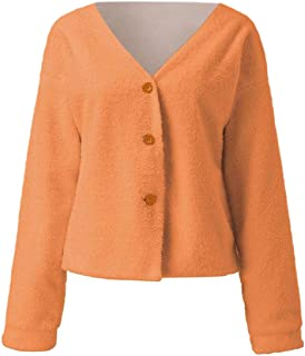 Women Cardigan Sweaters Button Down V Neck Long Sleeve Fuzzy Knitted Cardigans