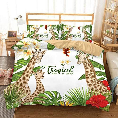 Taie d'oreiller de Couette, Ensemble de literie pour Girafe pour Enfants de 3, lit Simple lit Double Confortable Microfibre Douce,01,King