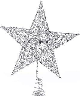 Seasonal Décor عيد الميلاد خمسة أشار ستار الحديد المطاوع زخرفة شجرة عيد الميلاد أعلى نجمة لوازم تخطيط عيد الميلاد for Xmas...
