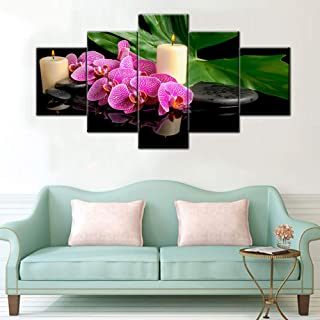 TUMOVO Red Flowers Picture Spa Zen Orchid Canvas Wall Art Black Stone Candles Paintings Modern Peaceful Home Decor Bedroom...