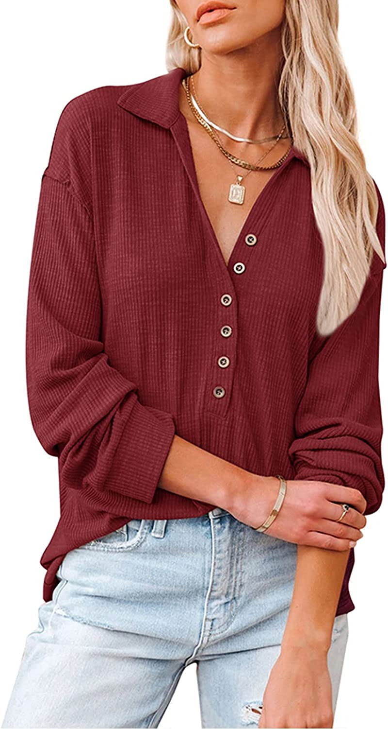KIRJAUDU Women Casual Button-up Blouses Long Sleeves Turn-Down Collar Ribbed Tops Loose Fit Shirts