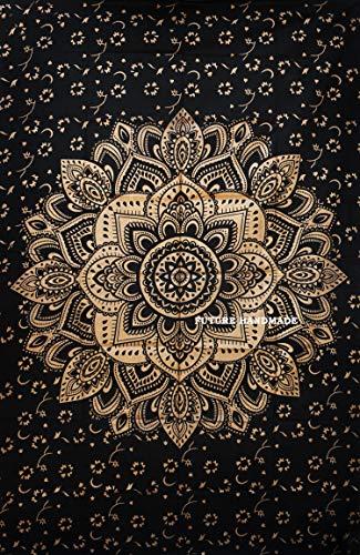 Future, handgefertigtes Bettlaken mit Mandala-Motiv, Schwarz und Gold, Design 11