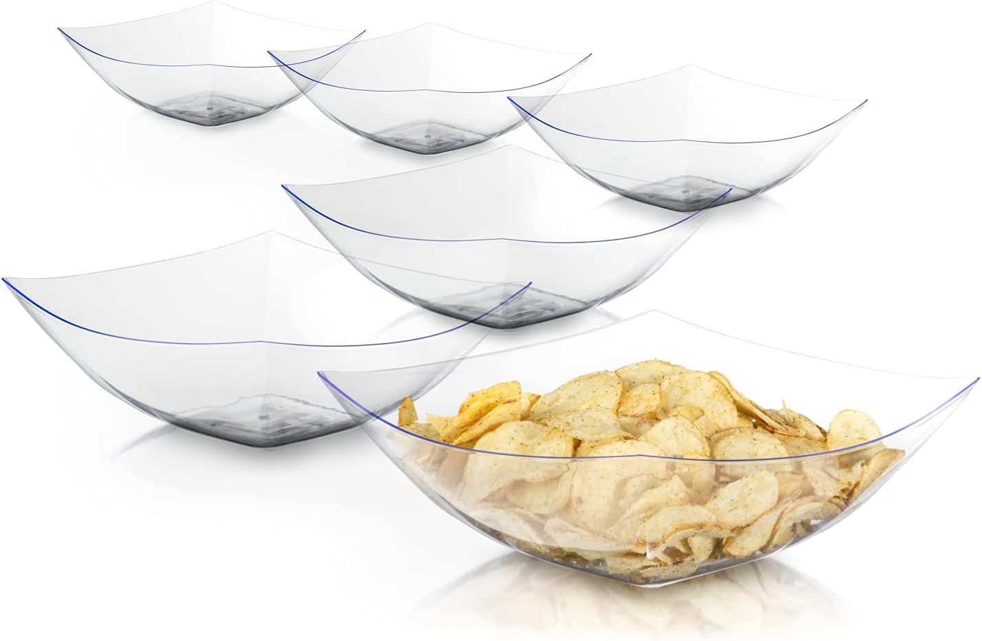 Exquisite Pack Of 6 Disposable Plastic Serving Bowls For Parties | 64 oz Clear Plastic Bowls For Parties I Disposable Serving Bowls For Salad Bar Buffet Containers | Small Serving Bowls For Candy