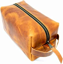 Hanging Toiletry Bag for Women, Travel Kit for Men - Portable Genuine Leather Men's Dopp Kit for Shaving and Grooming Supplies Cosmetic Organizer Zippered Bathroom Pouch Case (Natural)