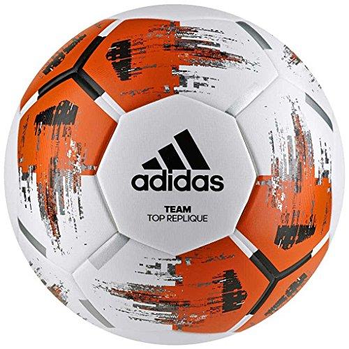 adidas Team TopRepliqu, Pallone da Calcio Uomo, Top:White/Orange/Black/Iron Met. Bottom:Silver Met, 5