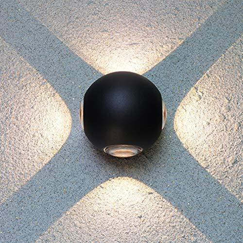 FDA3H Moderne led-wandlamp, creatieve zwarte wandverlichting, woonkamer, eetkamer, slaapkamer, hoofdeinde, hal, wandlamp, aluminium, decoratieve buitenverlichting, Ø12 cm x H10 cm, 12 W warm licht
