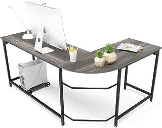 Hago Modern L-Shaped Desk Corner Computer Desk Home Office Study Workstation Wood & Steel PC Laptop Gaming Table (Large, Black Oak)