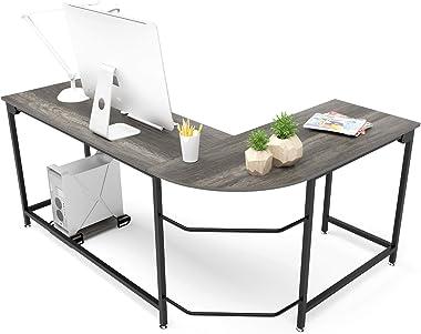Teraves Modern L-Shaped Desk Corner Computer Desk Home Office Study Workstation Wood & Steel PC Laptop Gaming Table (Larg