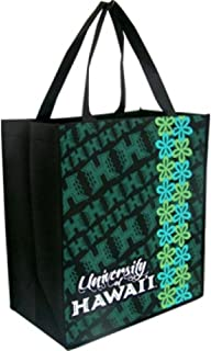 K Chang Hawaii University Eco Tote Bag UH Floral Pattern Black, Green One Size