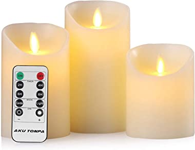 "Aku Tonpa Flameless Candles Battery Operated Pillar Real Wax Electric LED Candle Sets with Remote Control Cycling 24 Hours Timer, 4"" 5"" 6"" Pack of 3"