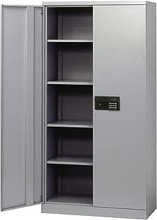 Sandusky Lee KDE7236-05 Dove Gray Steel SnapIt Storage Cabinet, Keyless Electronic Lock, 4 Adjustable Shelves, 72