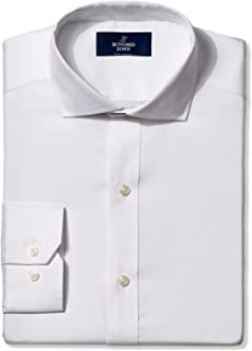 Amazon Brand - BUTTONED DOWN Men`s Fitted Solid Pinpoint Dress Shirt, Supima Cotton Non-Iron