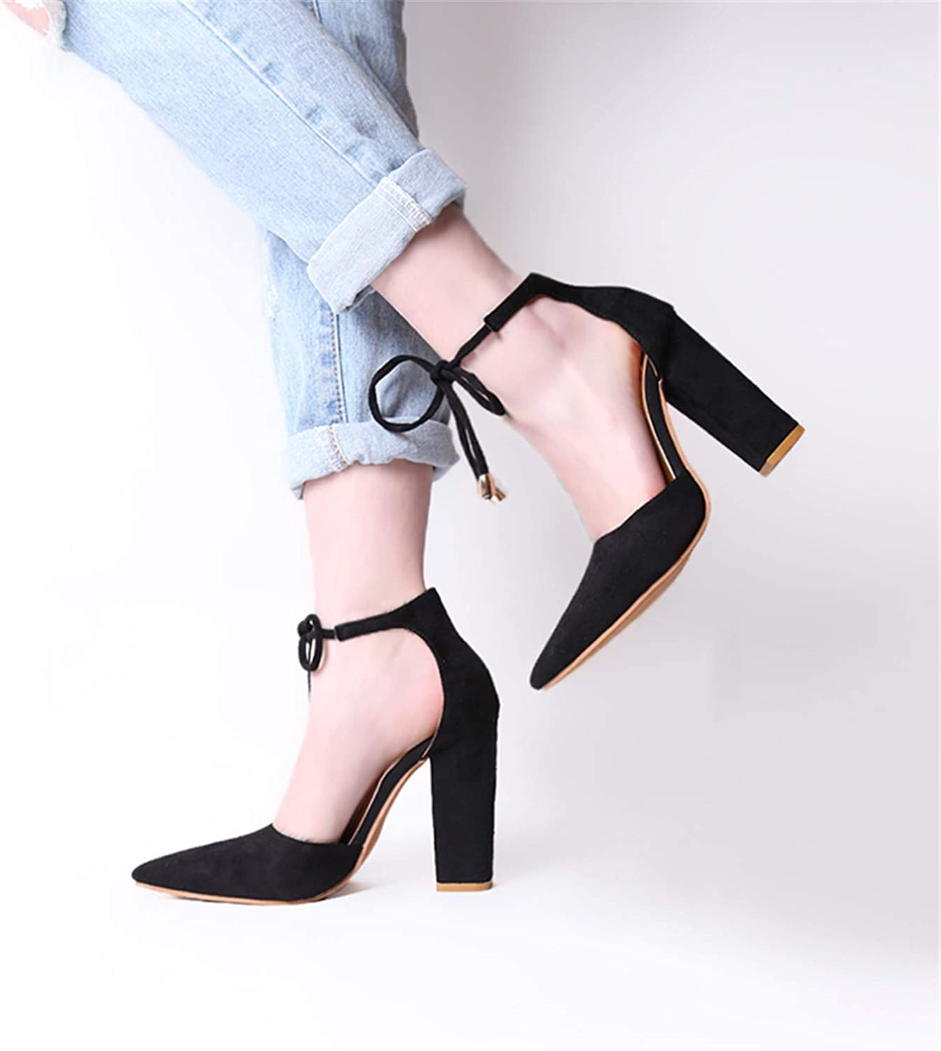 6 colors Pointed Strappy Pumps Retro High Thick Heels shoes Lace Up shoes