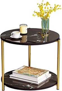 Modern sofa side table coffee table simple for living room bedroom balcony modern (A-Black)