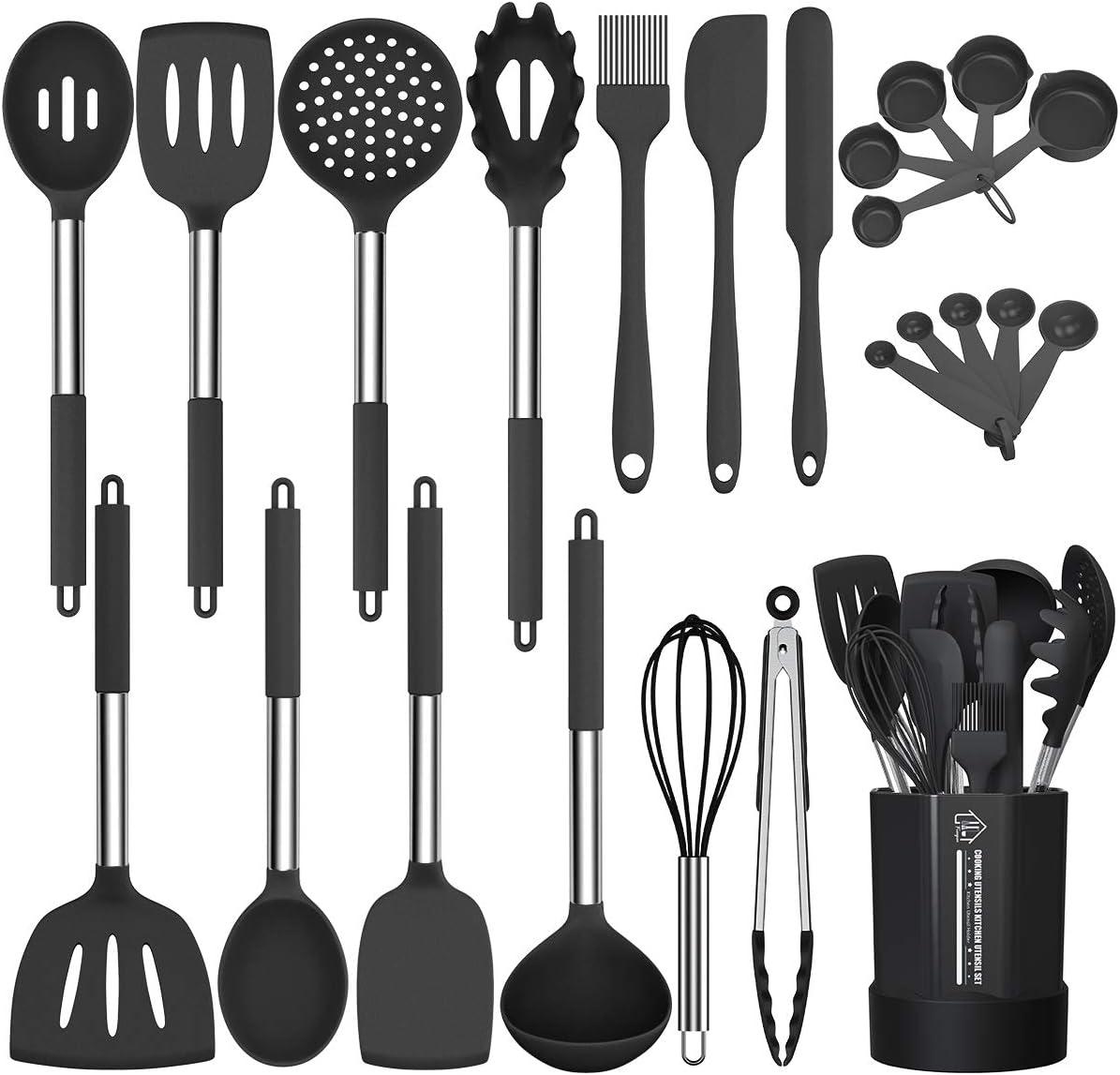 Silicone Cooking Utensil Set, Fungun Non-stick Kitchen Utensil 24 Pcs Cooking Utensils Set