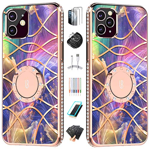 UBUNU Cute iPhone 12 Case for Women Girls [Zeus Heaven Palace] | Two Screen & Lens Protector | Glitter Rhinestone Bumper | Ring Kickstand Protective Phone Case for iPhone 12 6.1 inch