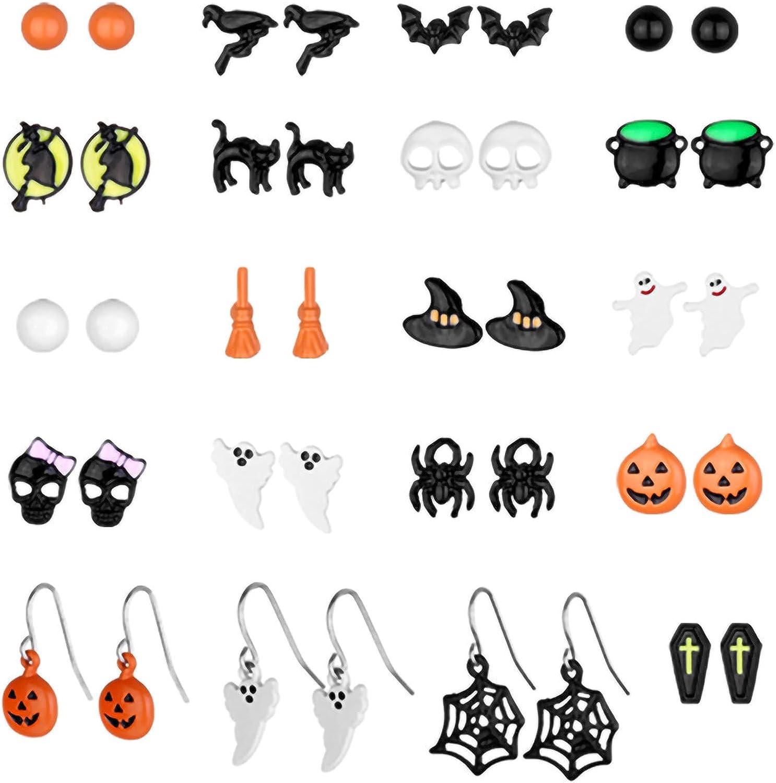 20 Pairs Halloween Drop Dangle Earrings Pumpkin Black Cat Stud Earrings Halloween Stud Earrings for Women Halloween Party Dress
