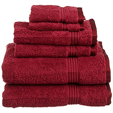 Superior Luxurious Soft Hotel & Spa Quality 6-Piece Towel Set, Made of 100% Premium Long-Staple Combed Cotton - 2 Washcloths, 2 Hand Towels, and 2 Bath Towels, Burgundy