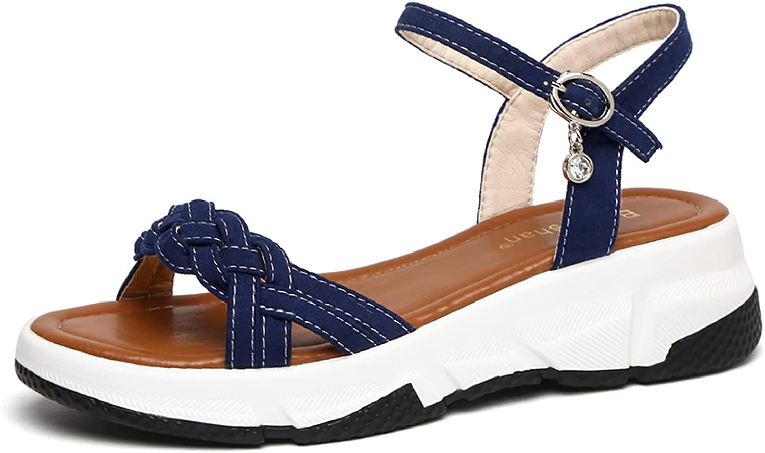 Woman Rest Weekly update Outdoor Open Toe Simple Vamp An Braided Phoenix Mall Ankle Strappy