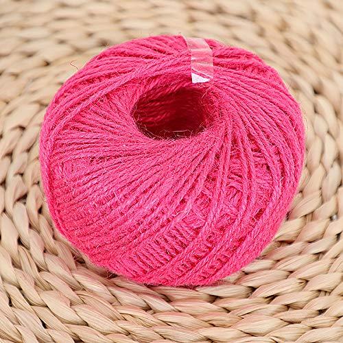 'N/A' Cuerda De Yute Natural De 2 Mm De Diámetro, Cuerda Trenzada, Cuerda Artesanal De 3 Capas, Decore Su Habitación con Regalos, Envuelva Su Cerca En El Jardín Y Decore En Fiestas(Color:Rosa roja)