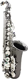 ammoon Saxofón grabado de latón con botones, instrumento de viento, guantes, gamuza, grasa, cinturón y cepillo (Afinado en EB E-Flat)