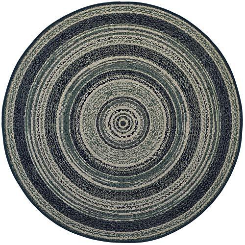 Teppich Rund Classic Vinyl Record Blue-Green 120x120cm für Innen und Außen