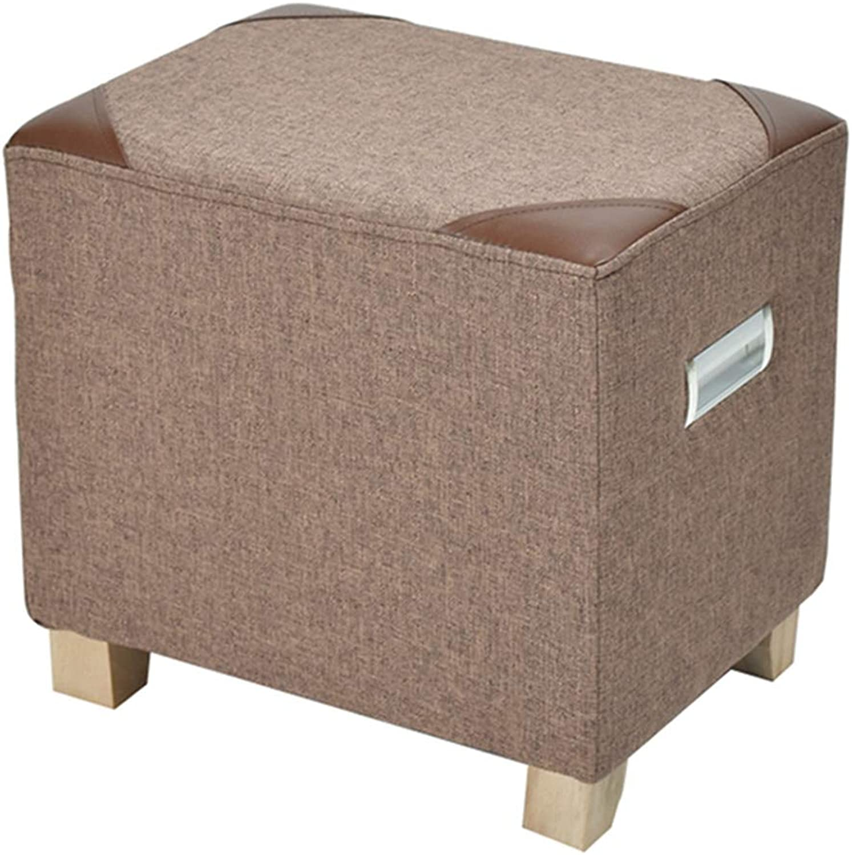 SMC stool Modern Minimalist Fabric Solid Wood Stool Change shoes Stool Home Living Room Sofa Stool Adult Small Stool (color   Brown)