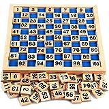 Puzzle matematico 1-100 Montessori Natureich gioco in legno per imparare a contare con tessere numerate e cifre, variopinto / colore naturale