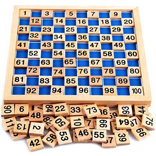 Montessori Mathematik Puzzle Spielzeug aus Holz zum Zahlen Lernen mit Zahlenfeldern und Ziffern, Bunt / Natur ab 3 Jahre für die frühe Motorik Entwicklung & Ausbildung ihres Kindes