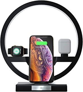 Desk Lamp with Wireless Charger - 3 in 1 Multifunctional Charging Station Holder for Apple Watch, Airpods, Fast Wireless Charger for iPhone 11/11 Pro/Xs Max/XR/X/8 Plus, Samsung S10+/S9+/S8/S7 (BLACK)
