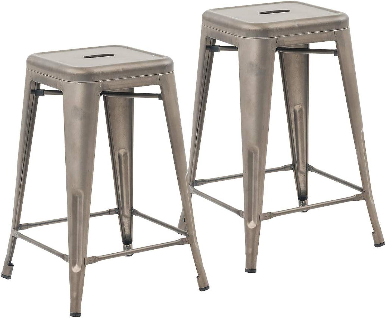 Buschman Set of 2 Bronze 24 Inch Counter Height Metal Bar Stools, Indoor Outdoor, Stackable
