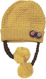 WOCACHI Baby Girls Knitted Crochet Beanie Cap Rabbit Pom Pom Earflaps Infant 2019 Winter Fleece Lined Earmuffs Hats
