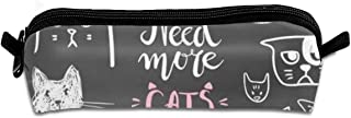 Pencil Box,Funny Doodle Cat Icons Collection. Hand Drawn Pet, Kid Drawn Vector .Pen Case Makeup Storage Bag,Office College School Students Stationery