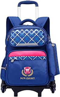 Boys Girls Rolling School Backpacks - Kids Trolley Schoolbag Waterproof Primary Student Bag Outdoor Travelling Nylon Kids Luggage with Removable Pull Rod