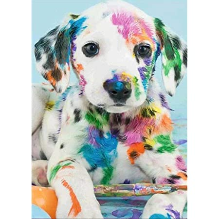 Wall art. DIAMOND DUST Original or WITH GLITTER Black Puppy dog Picture