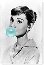"Funny Ugly Christmas Sweater Audrey Hepburn Fan Gift Printed Artwork New Audrey Hepburn Blue Bubble Gum Home Decor Unframed Art 8"" x 12"" White"