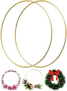 Large Metal Floral Hoop Wreath Macrame 14 Inch Gold Rings for Making Christmas Wedding Decor Dream Catcher Wall Hanging Em...