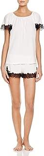 OSCAR DE LA RENTA Pink Label Women's Luxe Knit with Lace Short Set