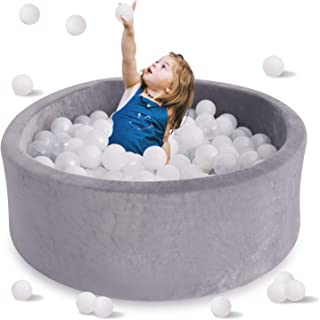 HAN-MM Kids Ball Pit, Kiddie Balls Pool, Stay at Home Toy, Baby Ball Pit, Soft Indoor Outdoor Nursery Baby Playpen, Ideal Gift Play Toy for Children Toddler Infant Boys & Girls, Grey