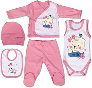 QAR7.3 Ropa Bebe Recien Nacido - 5 Piezas para Niñas 0-3 Meses - Talla 56 - Rosa