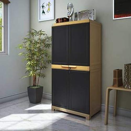 Nilkamal Freedom Mini Medium Plastic Cabinet Brown , 2 Doors