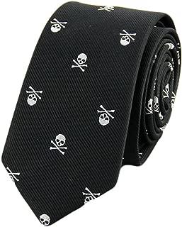 MENDENG Men's Skull Crossbones Necktie Skeleton Halloween Funny Party Tie