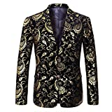 Boyland Men's Formal Suit Jacket Slim Fit Notched Lapel Elegant Jacquard Blazer Jacket Two Button Party Prom