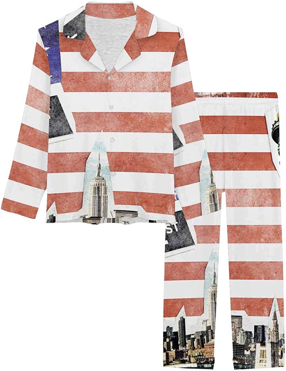 InterestPrint Long Sleeve Button Down Nightwear with Long Pants New York City Vintage Collage, US Flag Background