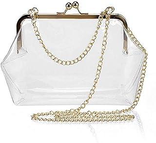 Puedo Clear Transparent PVC Kiss Lock Chain Cross Body Bag Womens Clutch
