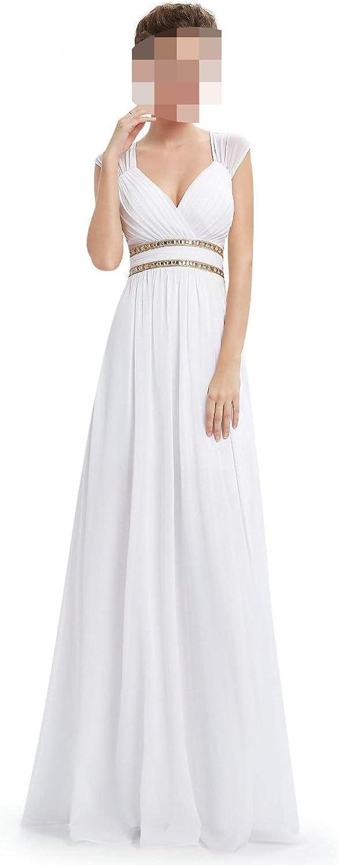 Goodbye Formal Women Elegant Navy bluee White V Neck Sleeveless Empire Evening Dresses,White,6,United States