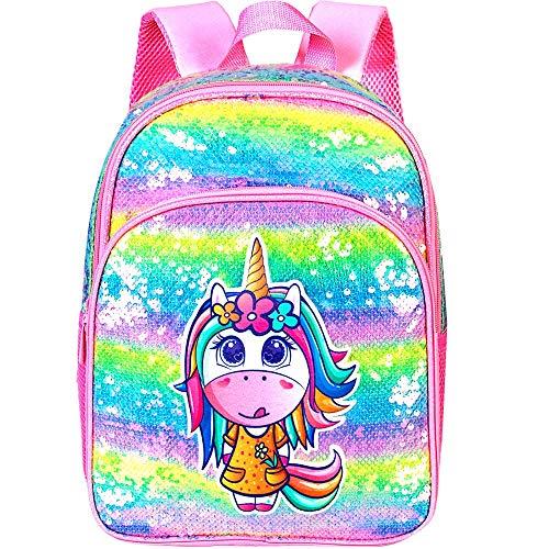 """Sequins Unicorn Backpack, 14.5"""" Little Kid Preschool Backpacks for Girls"""