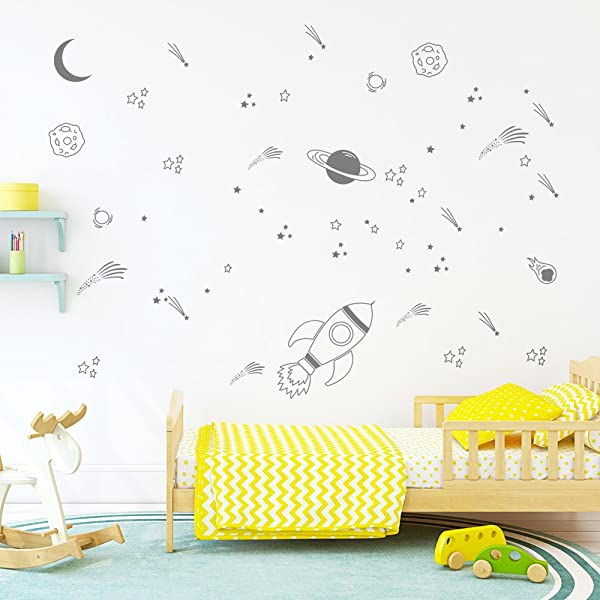DecalMile Gray Outer Space Wall Decals Planet Rocket And Stars Wall Stickers For Kids Nursery Bedroom Playroom Classroom Wall Decor