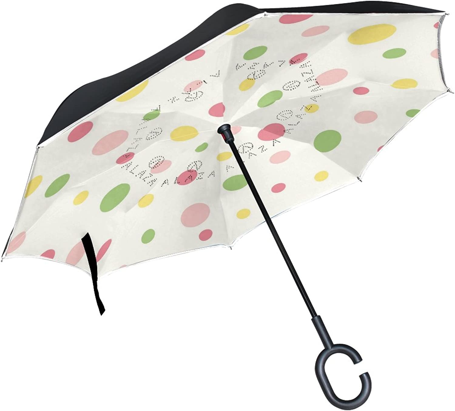 MAPOLO colorful Polka Dots Pattern Ingreened Double Layer Straight Umbrellas InsideOut Reversible Umbrella with CShaped Handle for Rain Sun Car Use